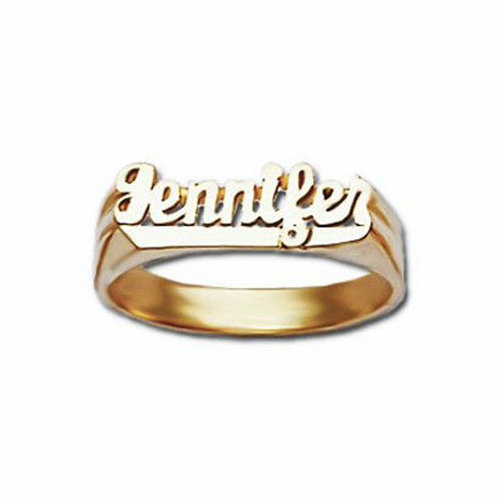 Small Script Gold Name Ring with Tail
