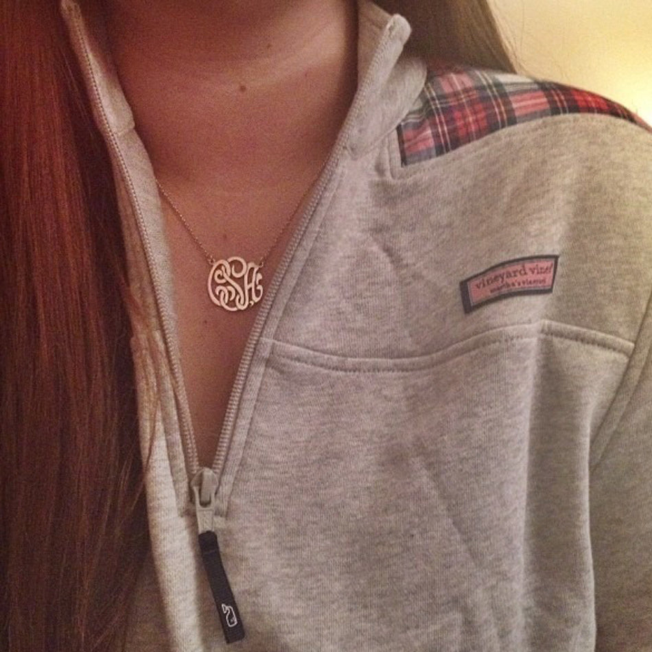 "1"" monogram necklace"