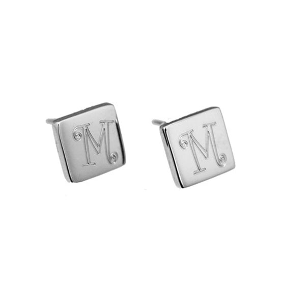 Monogram Sterling Silver Square Stud Earrings