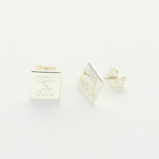 Monogram Sterling Silver Square Stud Earrings 2