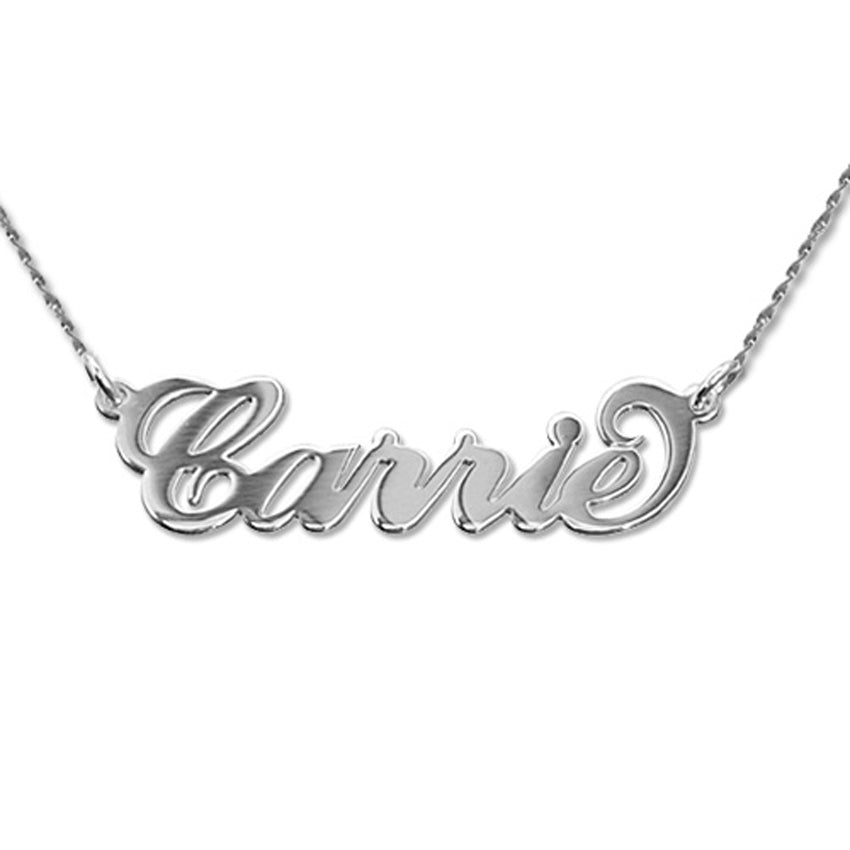 Small 14K White Gold Carrie Style Name Necklace