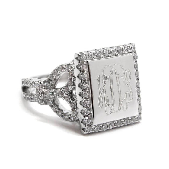 Sterling Silver Square Heart CZ Monogram Ring