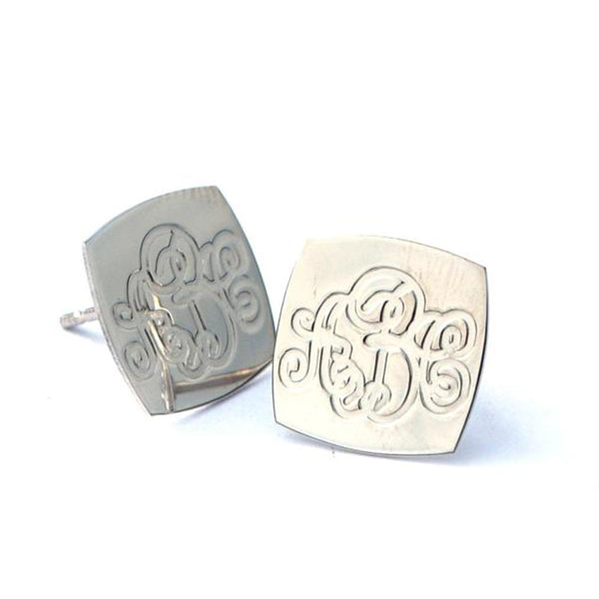 Square Engraved Monogram Earrings