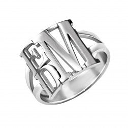 Stacked Block Monogram Ring 3