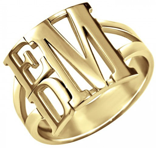 Stacked Block Monogram Ring
