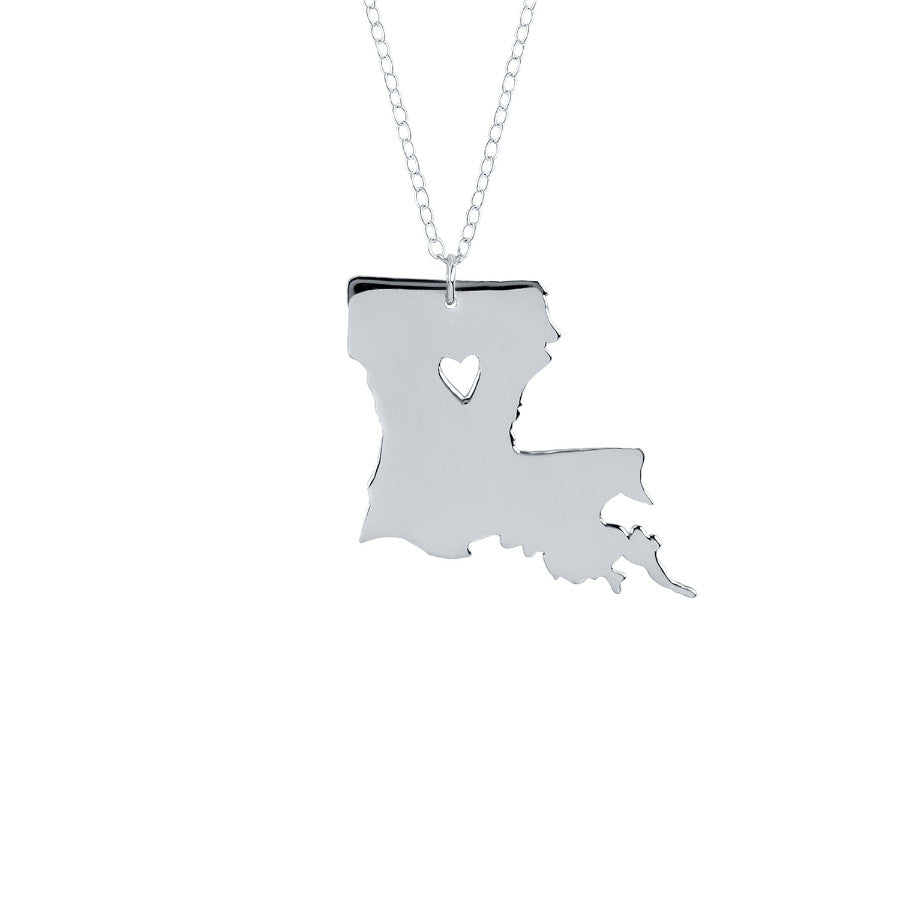 State Necklace with Cutout Heart