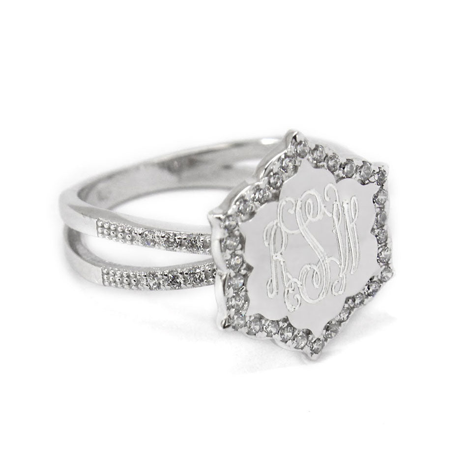 Sterling Silver CZ Flower Monogram Ring