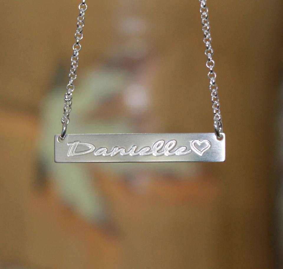 Sterling Silver Bar Necklace Personalized