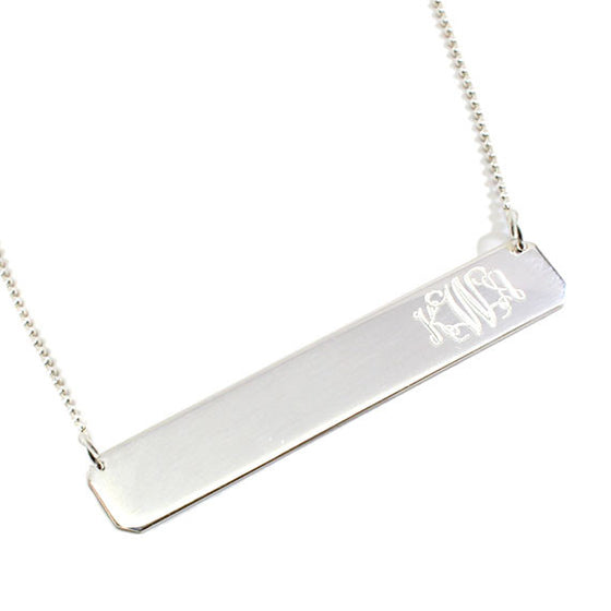 Sterling Silver Monogram Bar Necklace