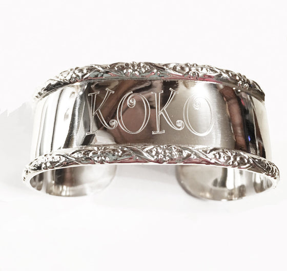 Sterling Silver Braided Monogram Cuff Bracelet
