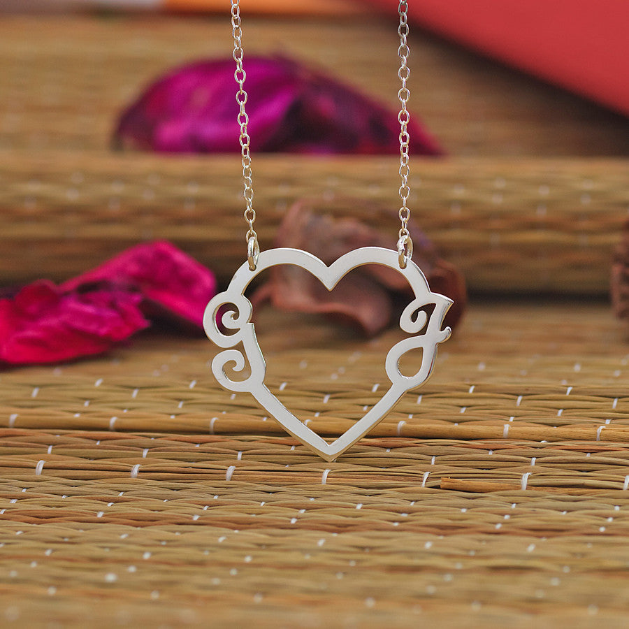 Heart and Two Initials Necklace 2