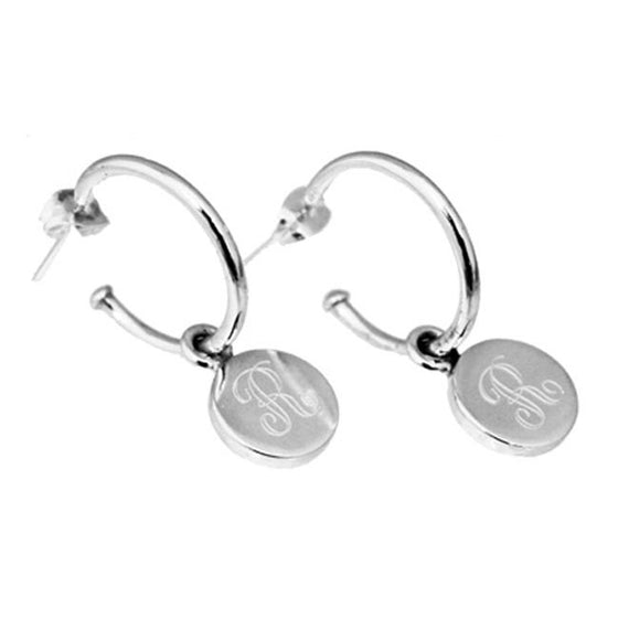 Monogram Sterling Silver Small Round Charm Hoop Earrings