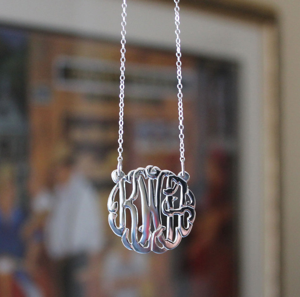 sterling silver mini monogram necklace - 1""