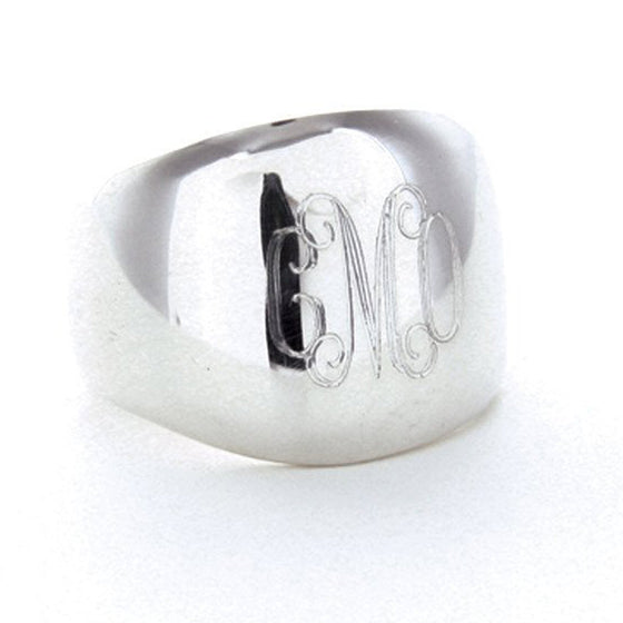 Sterling Silver Monogram Dome Ring
