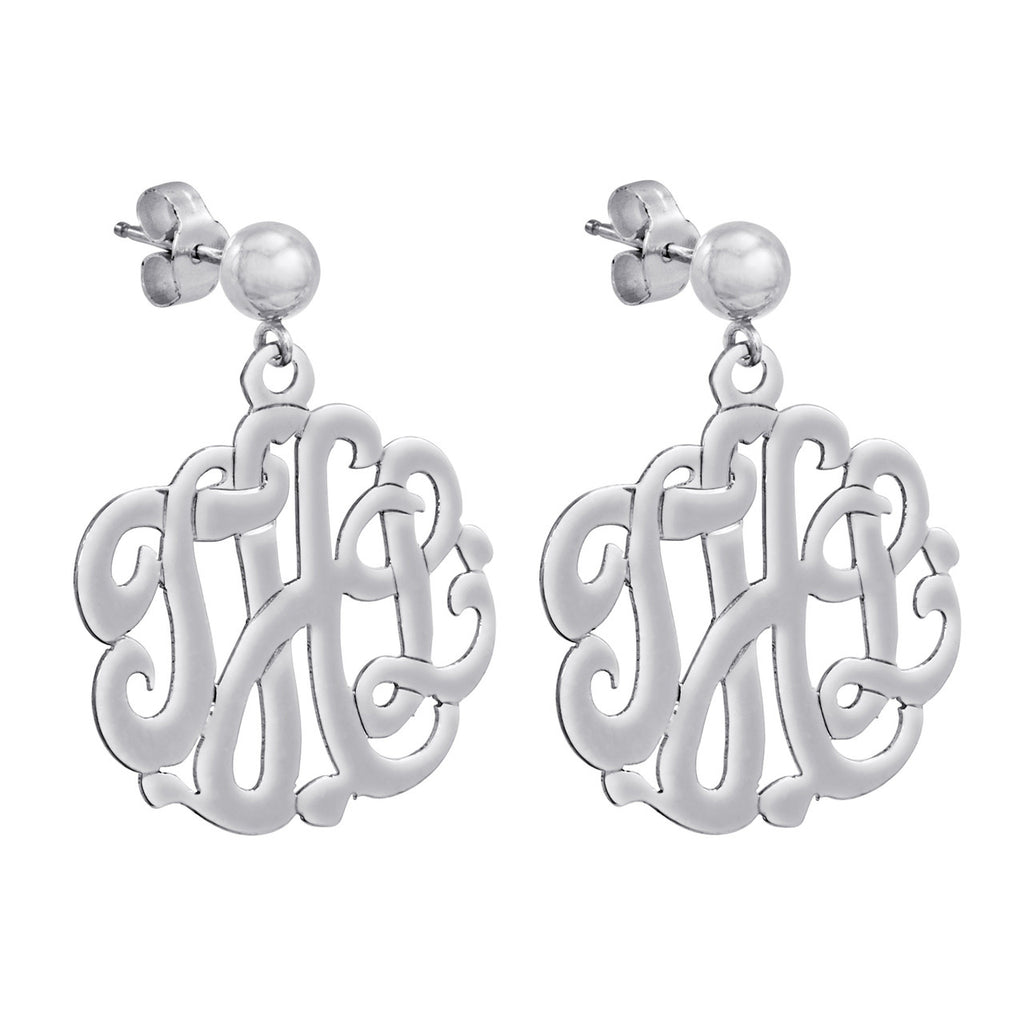 Sterling Silver Cutout Monogram Earrings
