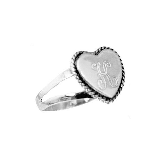 Silver Engraved Monogram Heart Ring