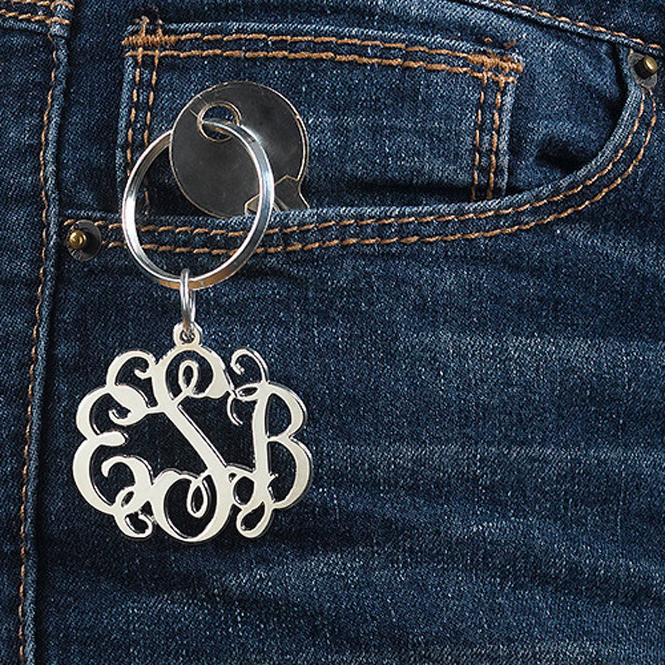 Monogram Keychain - Silver or Gold 3