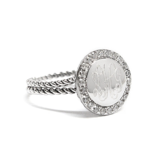 Sterling Silver Round CZ Rimmed Double Rope Band Monogram Ring