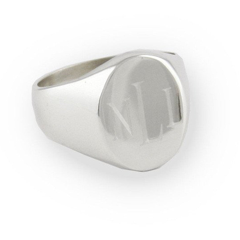 Sterling Silver Personalized Oval Signet Ring
