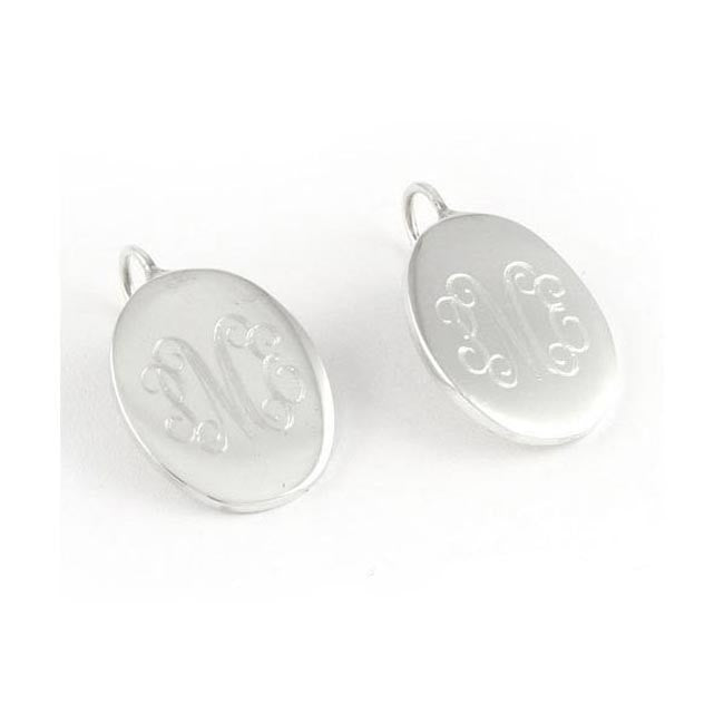 Monogram Sterling Silver Oval Earrings-French Wire