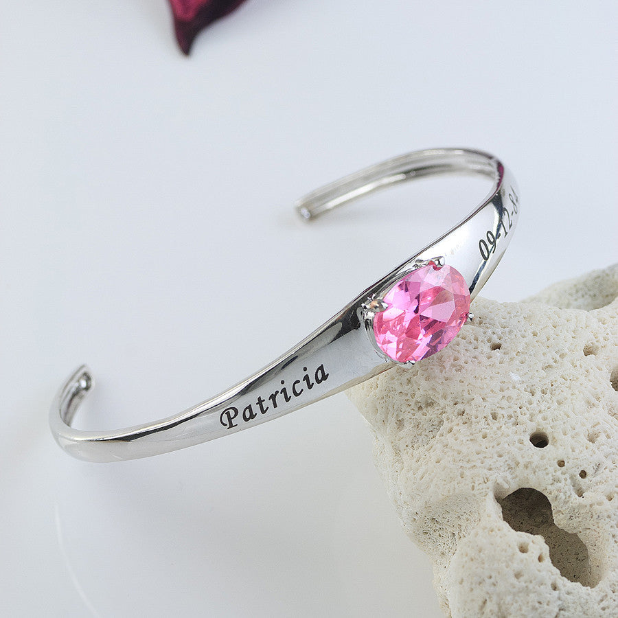 Engraved Mothers Cuff Bracelet with Birthstone