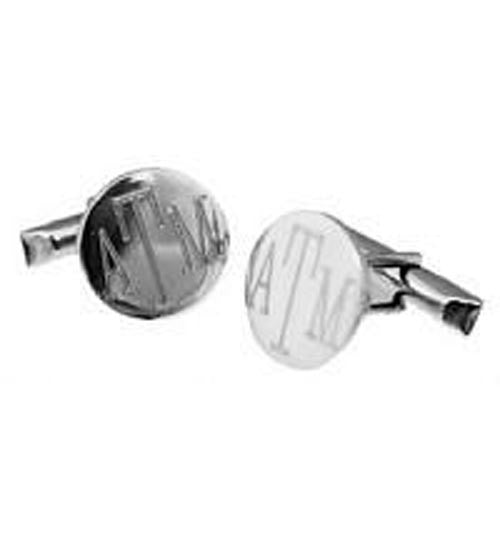 Personalized Sterling Silver Round Cuff Links 2