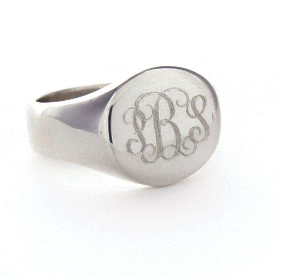 Personalized Sterling Silver Round Signet Ring
