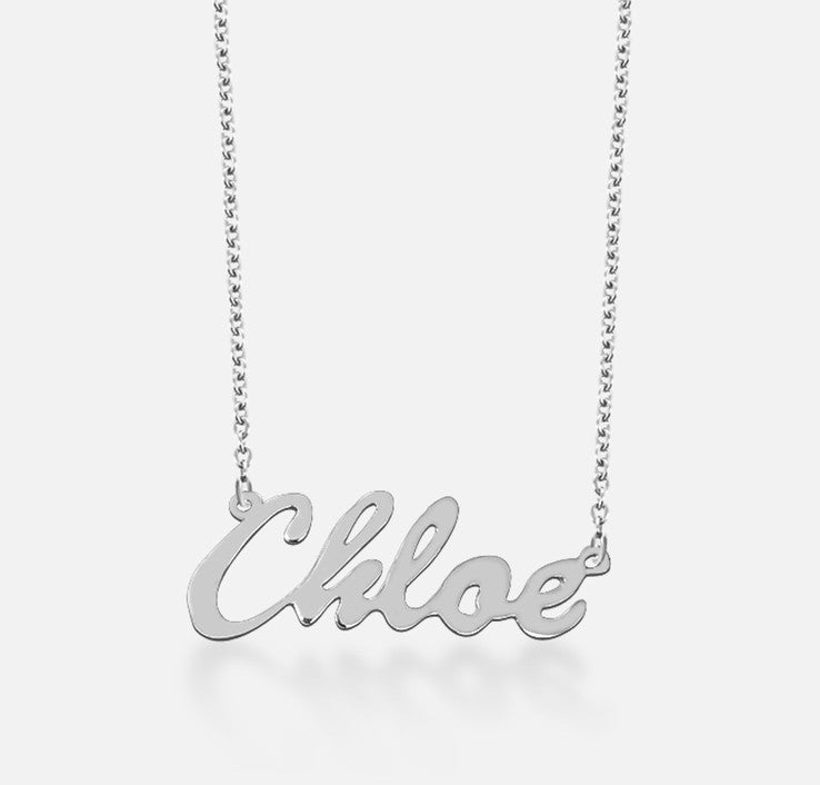 Sterling Silver Cursive Nameplate Necklace