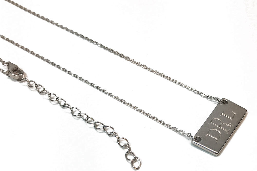 Small Monogram Bar Necklace - silver