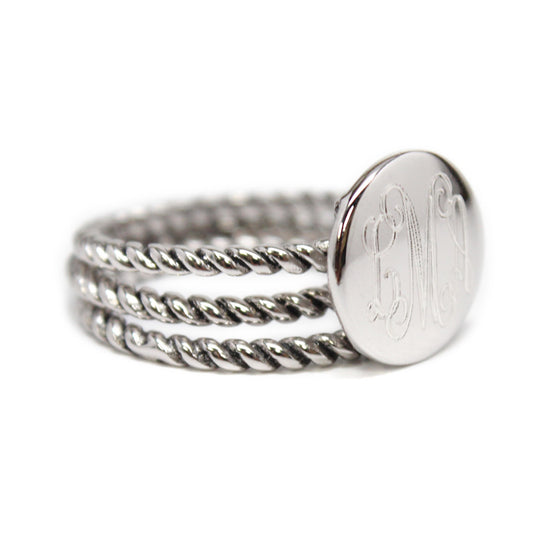 Sterling Silver Rope Trim Stackable Ring