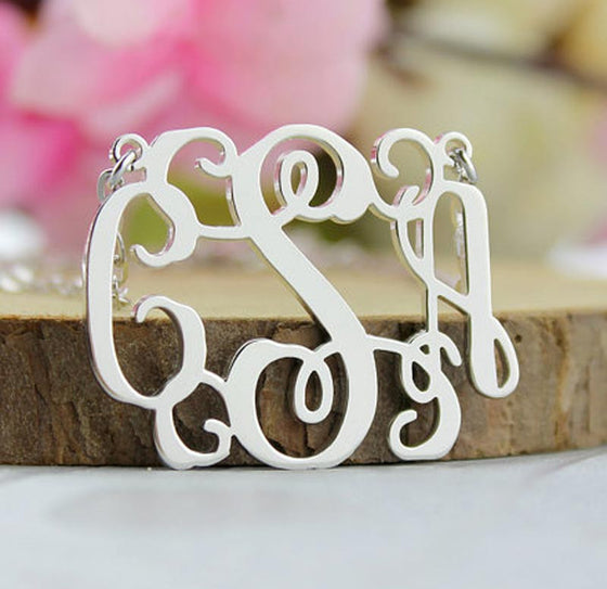 Silver Vine Script Monogram Necklace 5
