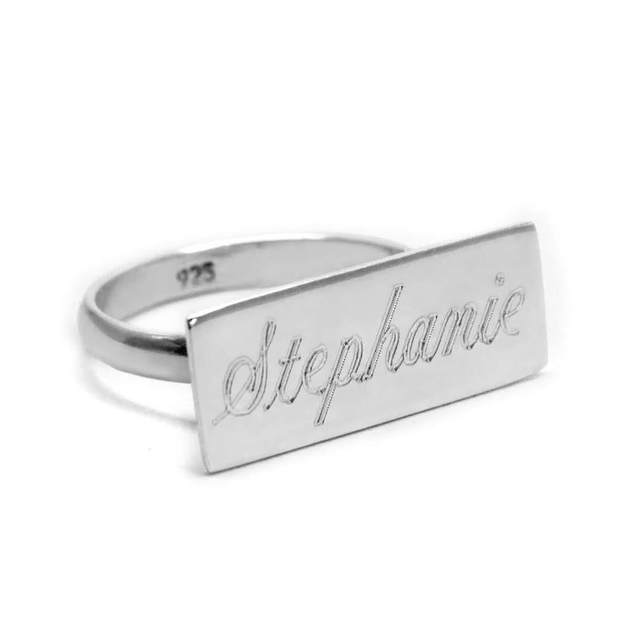 Personalized Horizontal Engraved Bar Ring