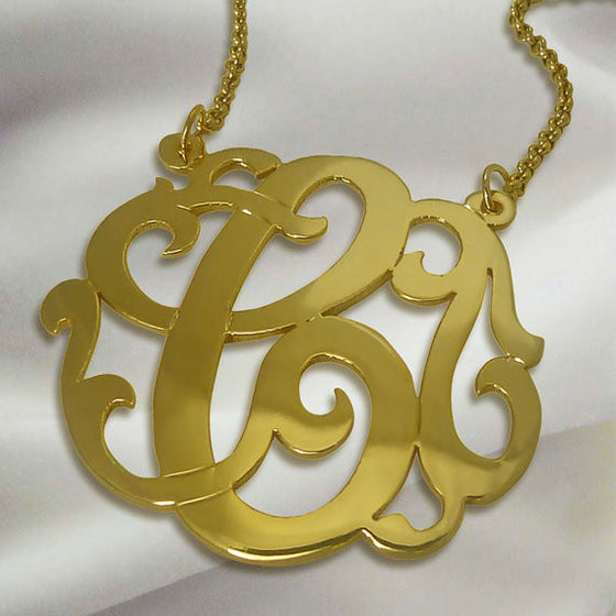 24K Gold Plated Swirly Initial Necklace On Split Chain