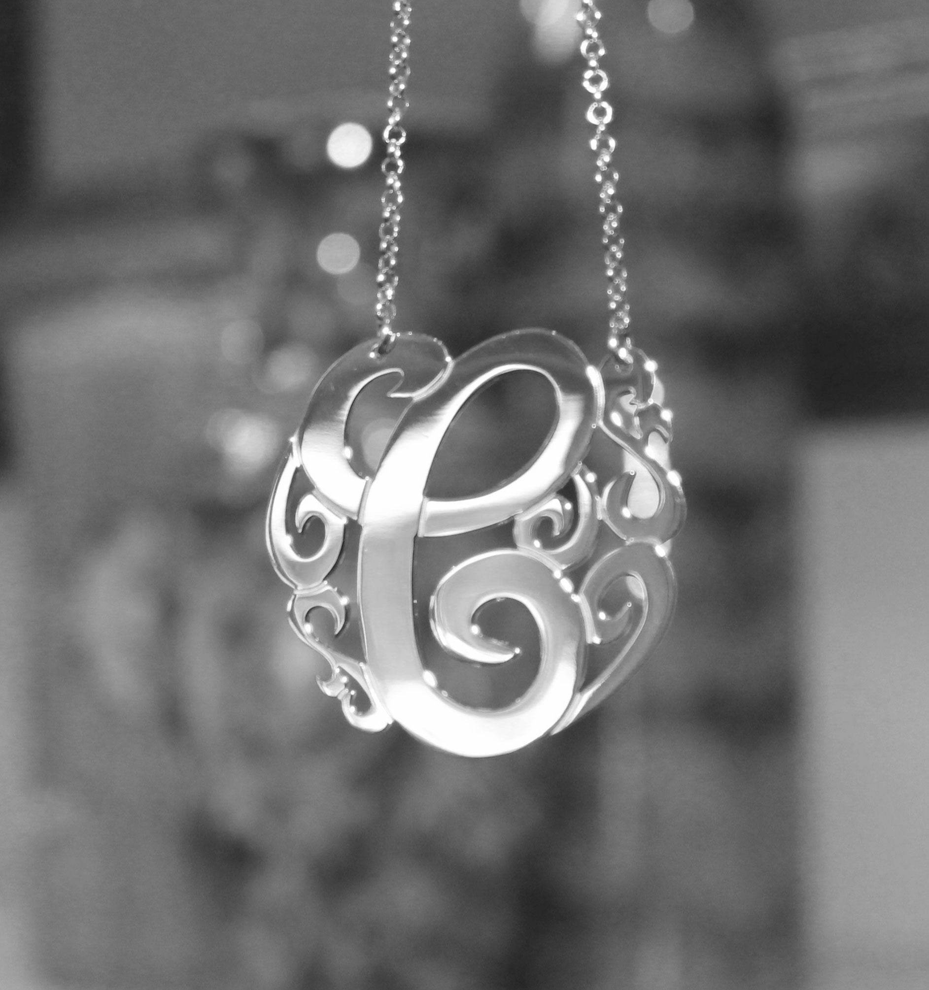 Swirly Initial Necklace - 1 1/2 inch