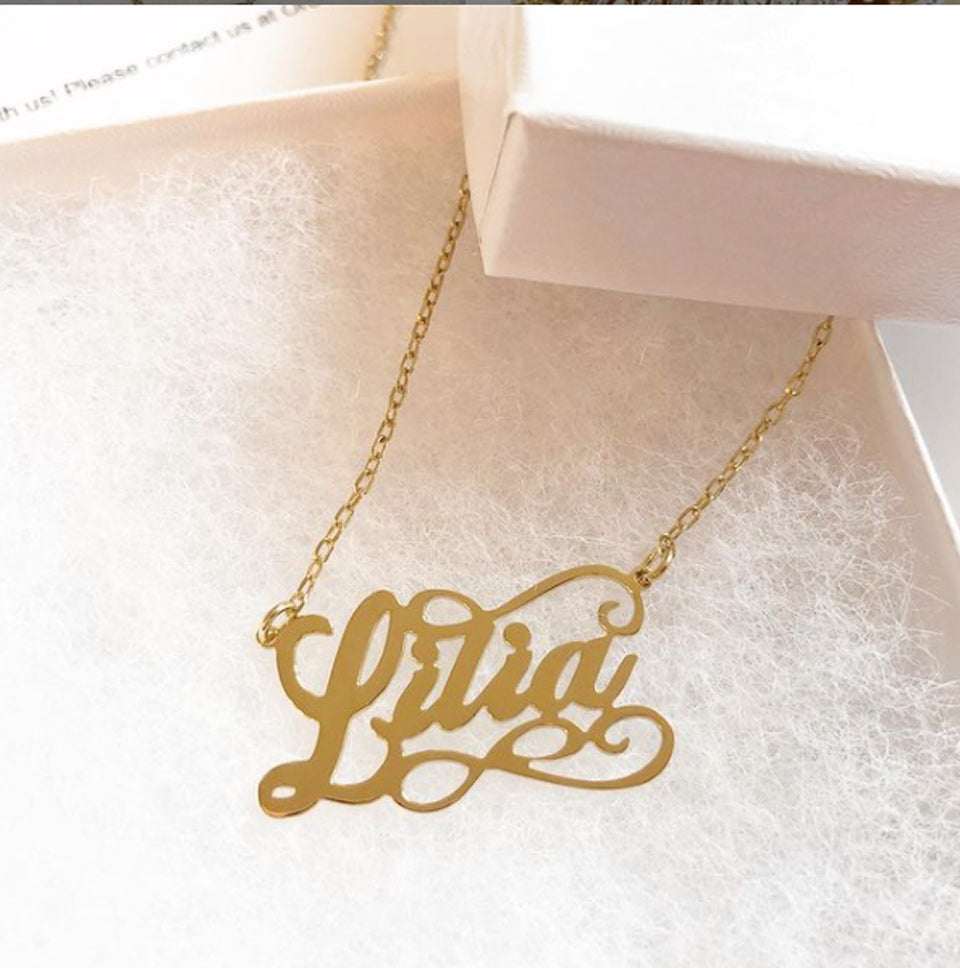 scroll name necklace