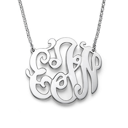 Silver Swirly Script Monogram Necklace