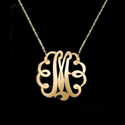 Large Gold Swirly Initial Necklace