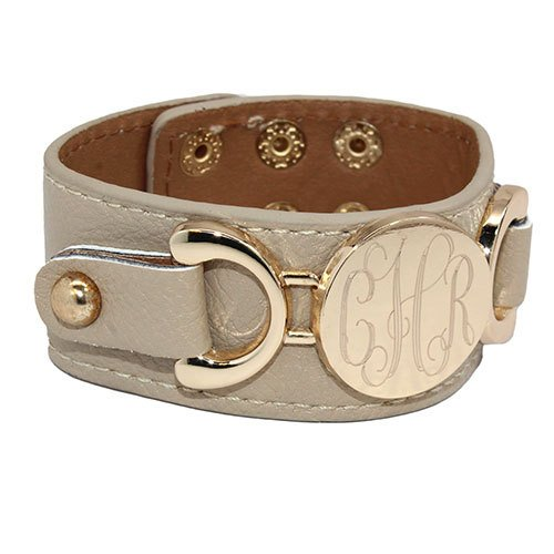 Monogrammed Leather Cuff Bracelet 11