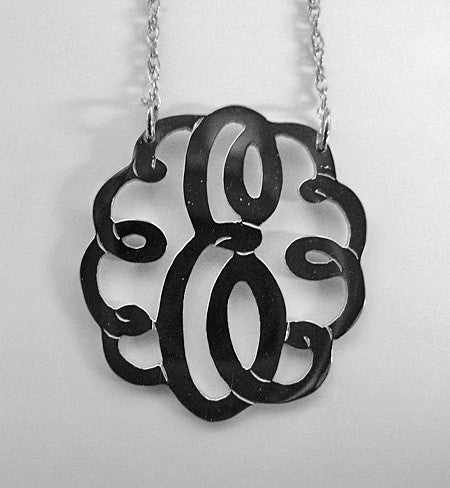Medium Sterling Silver Swirly Initial Monogram Necklace