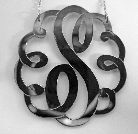 Medium Large Sterling Silver Swirly Initial Monogram Necklace