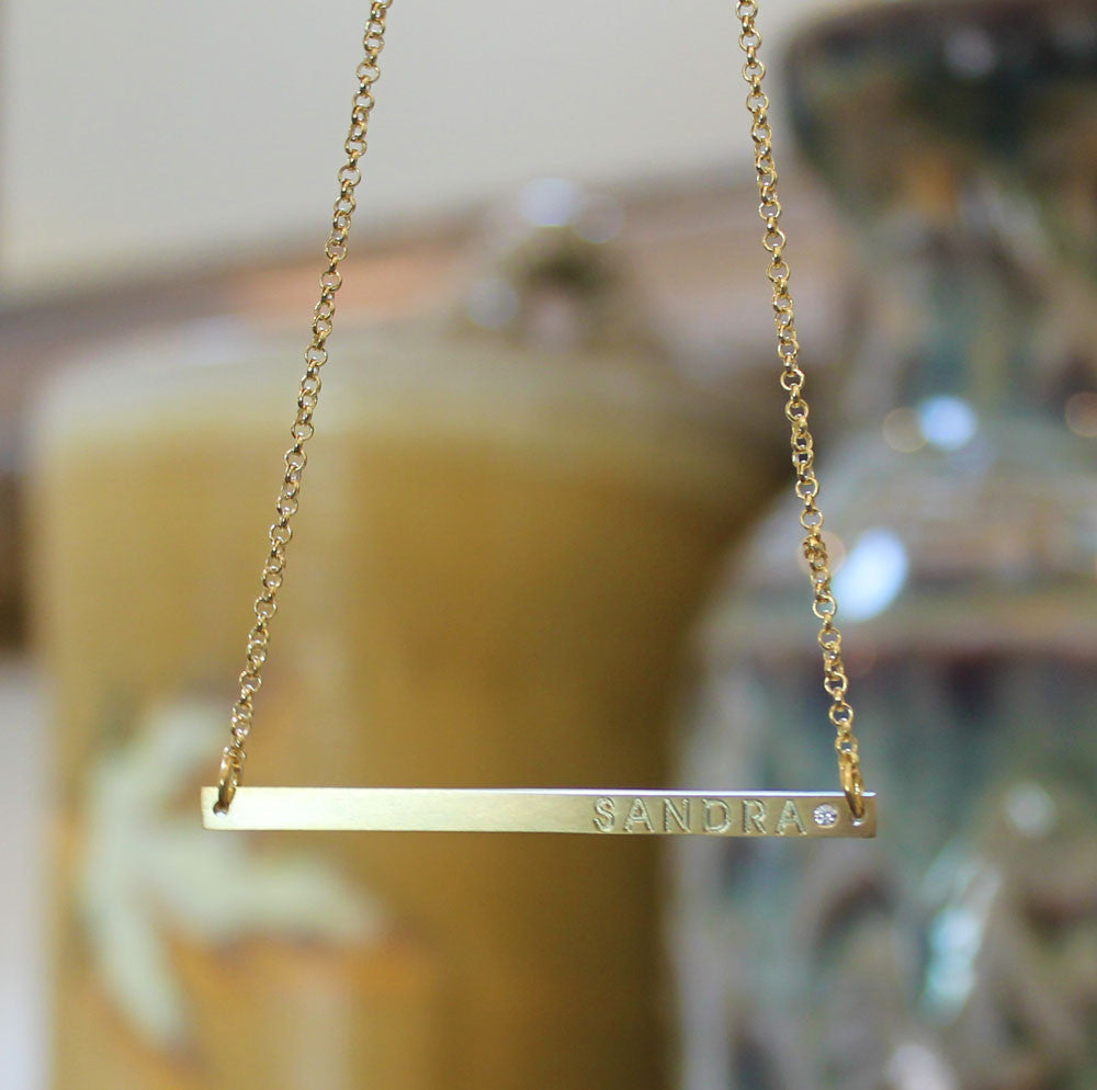 thin horizontal engraved bar necklace