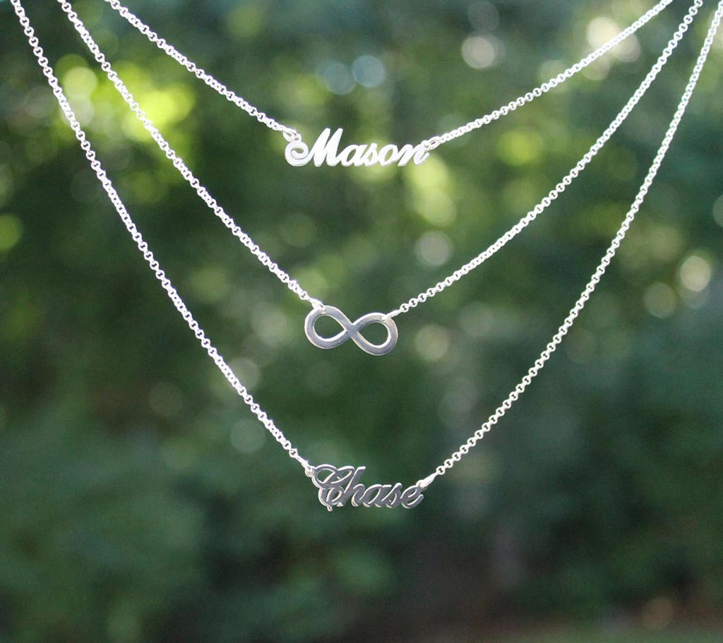 Silver Layered Two Name Infinity Necklace 2