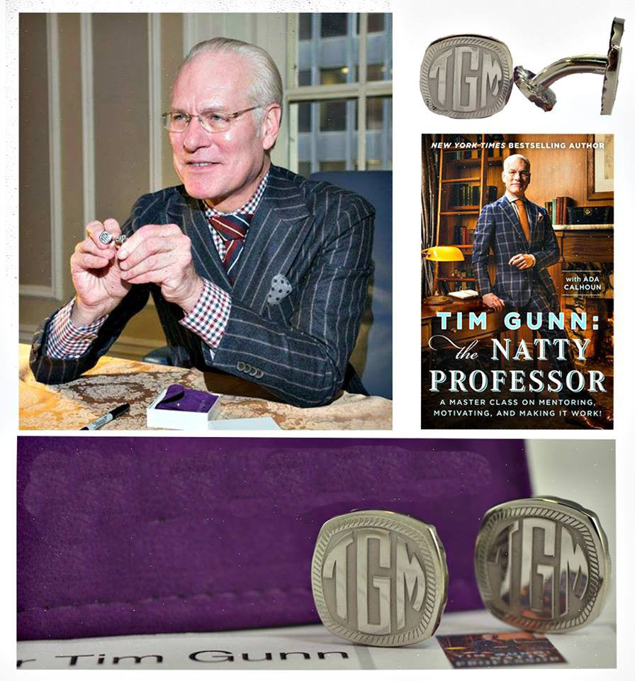 Square Recessed Block Monogram Cuff Links - Tim Gunn