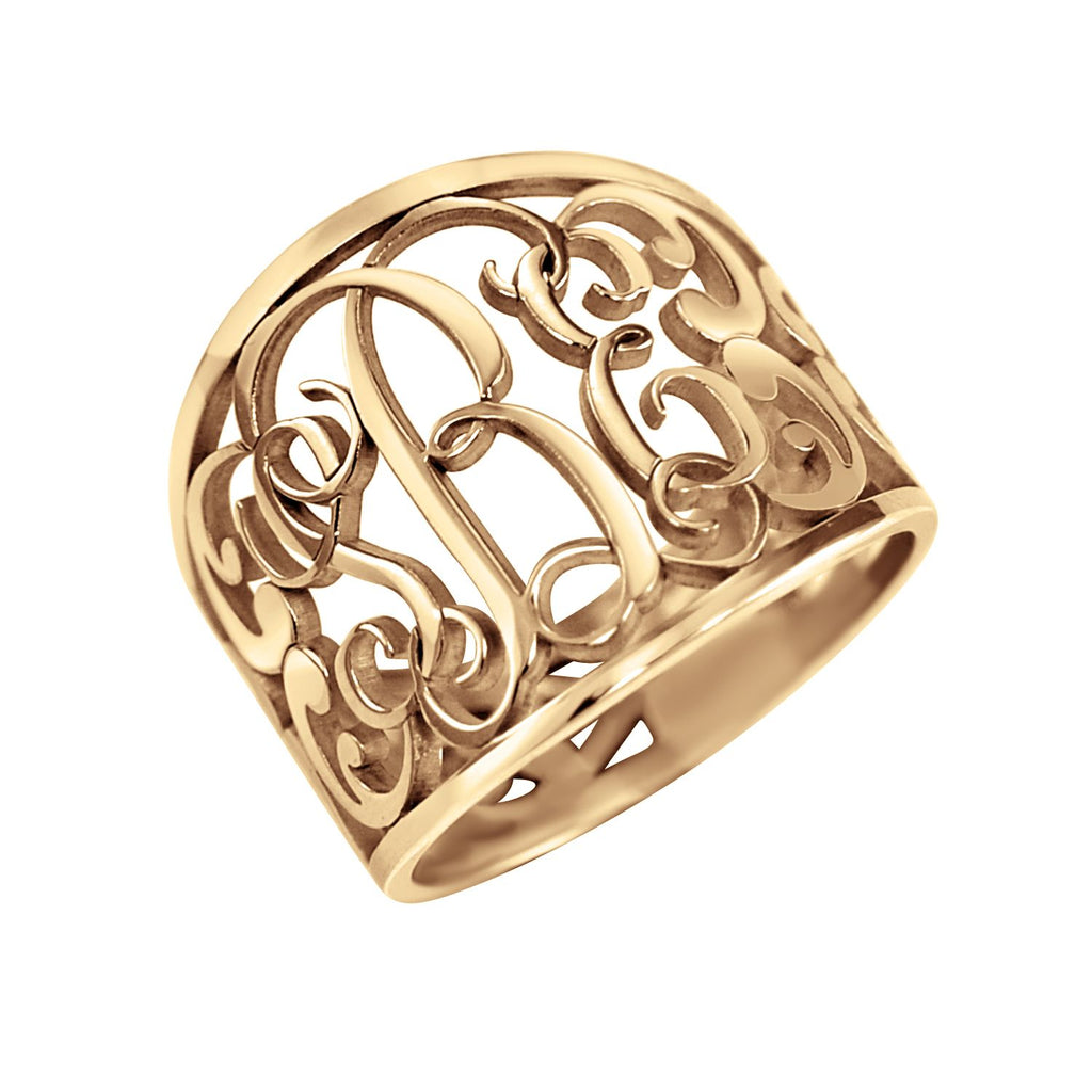 Fancy Decorated Monogram Ring 3