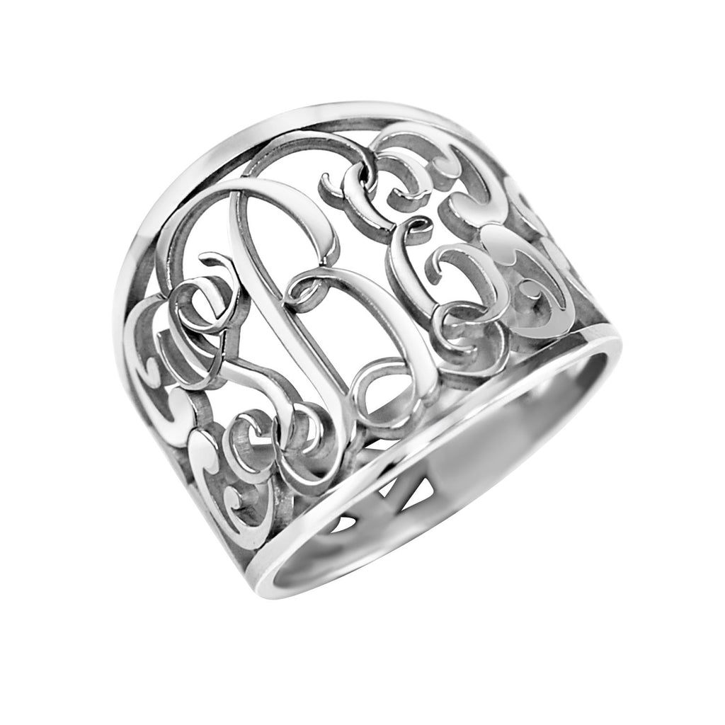 Fancy Decorated Monogram Ring 2