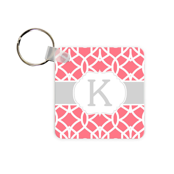 Personalized Trellis Monogram Key Chain