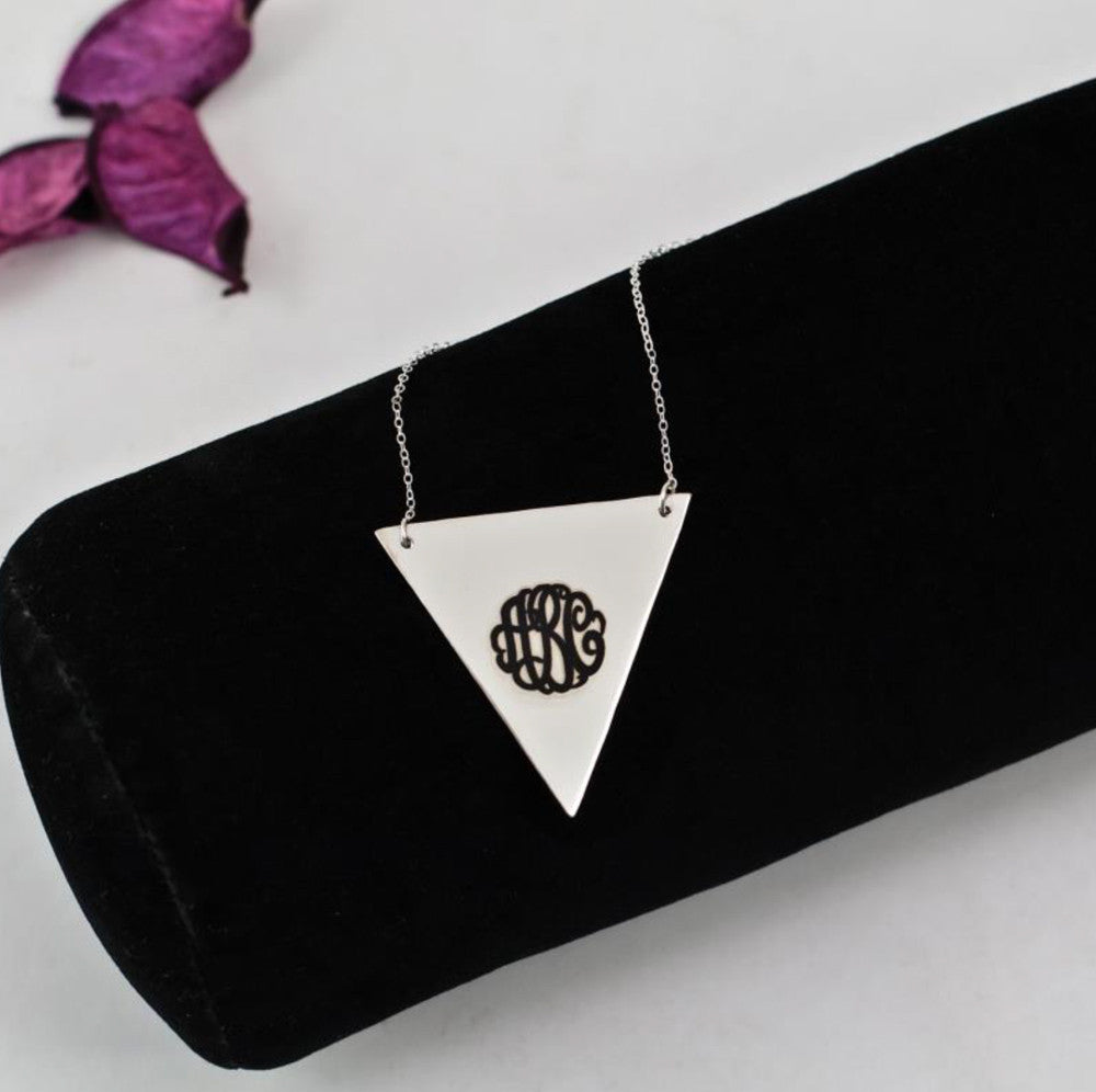 silver triangle monogram necklace