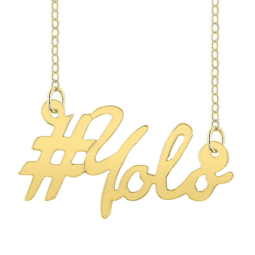 Gold Personalized Script Hashtag Necklace 2