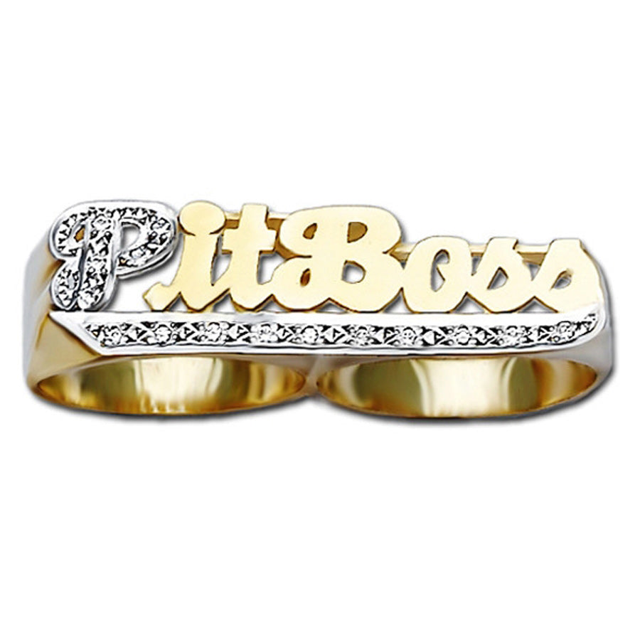 Two Finger Name Ring with Diamonds