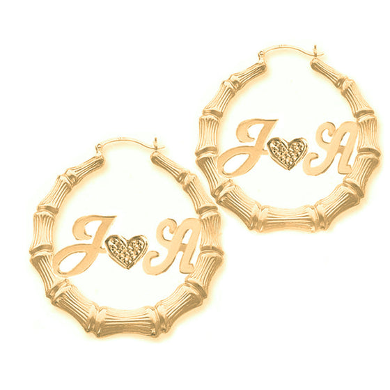 Two Initials and Heart Bamboo Hoop Earrings
